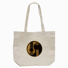Old And Worn Acoustic Guitars Yin Yang Tote Bag (cream) by JeffBartels