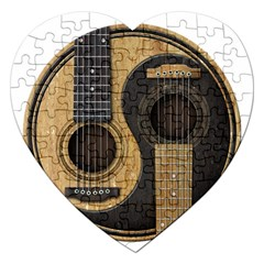 Old And Worn Acoustic Guitars Yin Yang Jigsaw Puzzle (heart) by JeffBartels