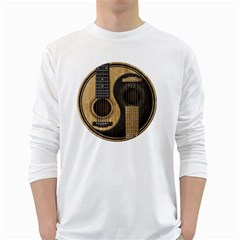 Old And Worn Acoustic Guitars Yin Yang White Long Sleeve T Shirts by JeffBartels