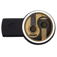 Old And Worn Acoustic Guitars Yin Yang Usb Flash Drive Round (4 Gb) by JeffBartels