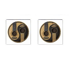 Old And Worn Acoustic Guitars Yin Yang Cufflinks (square) by JeffBartels