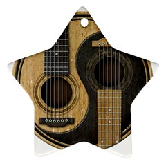 Old And Worn Acoustic Guitars Yin Yang Star Ornament (two Sides) by JeffBartels