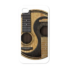 Old And Worn Acoustic Guitars Yin Yang Apple Iphone 4 Case (white)