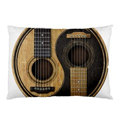 Old And Worn Acoustic Guitars Yin Yang Pillow Case (two Sides) by JeffBartels