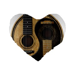 Old And Worn Acoustic Guitars Yin Yang Standard 16  Premium Heart Shape Cushions by JeffBartels