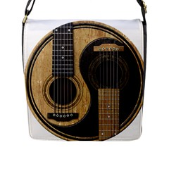 Old And Worn Acoustic Guitars Yin Yang Flap Messenger Bag (l)  by JeffBartels