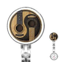 Old And Worn Acoustic Guitars Yin Yang Stainless Steel Nurses Watch by JeffBartels
