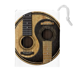 Old And Worn Acoustic Guitars Yin Yang Drawstring Pouches (extra Large) by JeffBartels