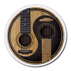 Old And Worn Acoustic Guitars Yin Yang Round Mousepads by JeffBartels