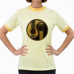 Old And Worn Acoustic Guitars Yin Yang Women s Fitted Ringer T Shirts by JeffBartels