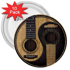 Old And Worn Acoustic Guitars Yin Yang 3  Buttons (10 Pack)  by JeffBartels