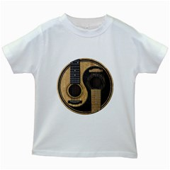 Old And Worn Acoustic Guitars Yin Yang Kids White T Shirts by JeffBartels