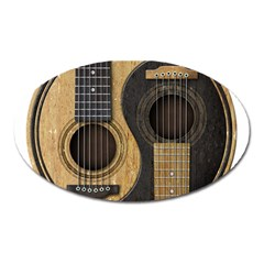 Old And Worn Acoustic Guitars Yin Yang Oval Magnet