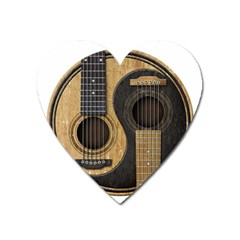 Old And Worn Acoustic Guitars Yin Yang Heart Magnet by JeffBartels