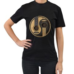 Old And Worn Acoustic Guitars Yin Yang Women s T-shirt (black) (two Sided) by JeffBartels