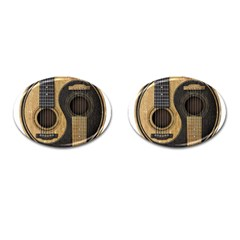Old And Worn Acoustic Guitars Yin Yang Cufflinks (oval) by JeffBartels