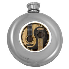 Old And Worn Acoustic Guitars Yin Yang Round Hip Flask (5 Oz) by JeffBartels