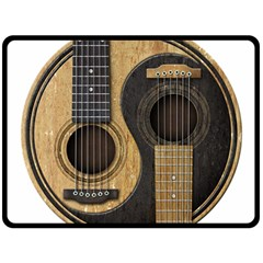 Old And Worn Acoustic Guitars Yin Yang Fleece Blanket (large)  by JeffBartels