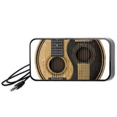 Old And Worn Acoustic Guitars Yin Yang Portable Speaker (black) by JeffBartels