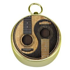 Old And Worn Acoustic Guitars Yin Yang Gold Compasses by JeffBartels