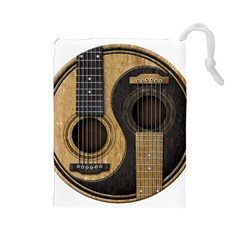 Old And Worn Acoustic Guitars Yin Yang Drawstring Pouches (large)  by JeffBartels