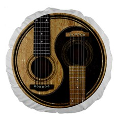 Old And Worn Acoustic Guitars Yin Yang Large 18  Premium Flano Round Cushions by JeffBartels