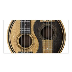 Old And Worn Acoustic Guitars Yin Yang Satin Shawl by JeffBartels