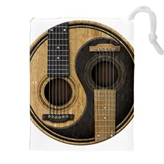 Old And Worn Acoustic Guitars Yin Yang Drawstring Pouches (xxl) by JeffBartels