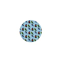 Blue Birds Parrot Pattern 1  Mini Buttons