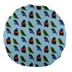 Blue Birds Parrot Pattern Large 18  Premium Round Cushions by paulaoliveiradesign