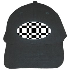 Checkerboard Black And White Black Cap by Colorfulart23