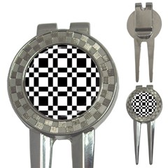 Checkerboard Black And White 3 In 1 Golf Divots by Colorfulart23