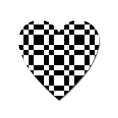 Checkerboard Black And White Heart Magnet by Colorfulart23