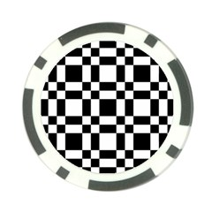 Checkerboard Black And White Poker Chip Card Guard by Colorfulart23
