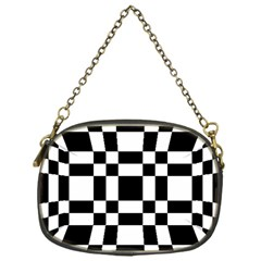 Checkerboard Black And White Chain Purses (one Side)  by Colorfulart23