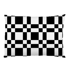 Checkerboard Black And White Pillow Case by Colorfulart23
