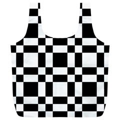 Checkerboard Black And White Full Print Recycle Bags (l)  by Colorfulart23
