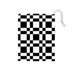 Checkerboard Black And White Drawstring Pouches (medium)  by Colorfulart23