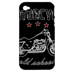Motorcycle Old School Apple Iphone 4/4s Hardshell Case (pc+silicone)