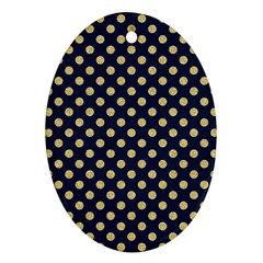 Navy/gold Polka Dots Ornament (oval)