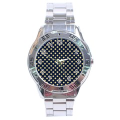 Navy/gold Polka Dots Stainless Steel Analogue Watch by Colorfulart23