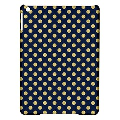 Navy/gold Polka Dots Ipad Air Hardshell Cases by Colorfulart23