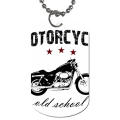 Motorcycle Old School Dog Tag (one Side) by Valentinaart