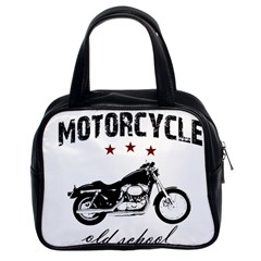 Motorcycle Old School Classic Handbags (2 Sides) by Valentinaart