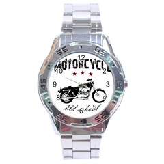 Motorcycle Old School Stainless Steel Analogue Watch by Valentinaart