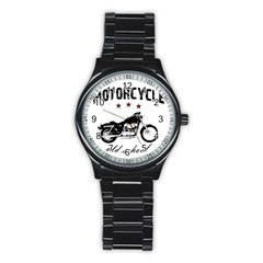 Motorcycle Old School Stainless Steel Round Watch