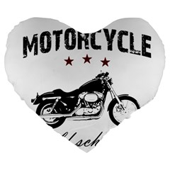 Motorcycle Old School Large 19  Premium Flano Heart Shape Cushions
