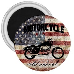 Motorcycle Old School 3  Magnets by Valentinaart