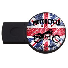 Motorcycle Old School Usb Flash Drive Round (2 Gb) by Valentinaart