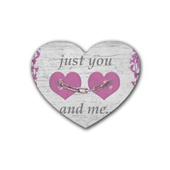 Shabby Chich Love Concept Poster Rubber Coaster (heart)  by dflcprints